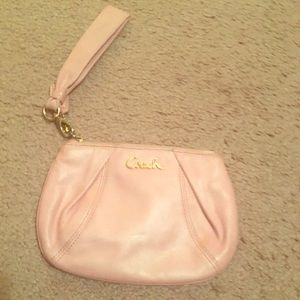 Coach pink pearl leather wristlet